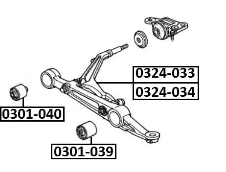 Сайлентблок AKITAKA 0301-040 (переднего нижнего рычага внутрений) HONDA