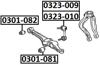 Сайлентблок AKITAKA 0301-081 (переднего нижнего рычага) HONDA