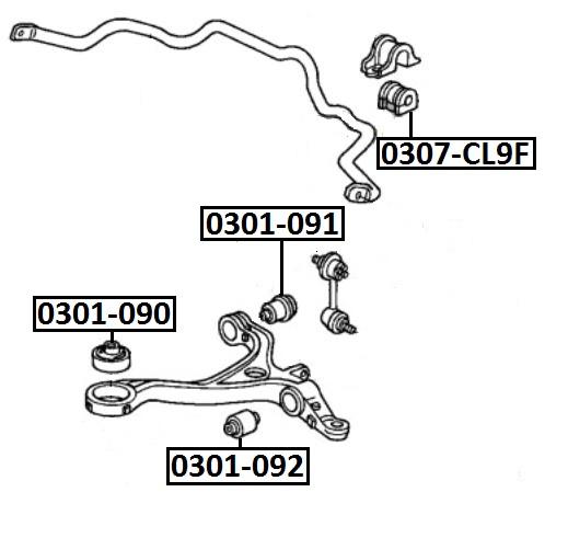 Сайлентблок AKITAKA 0301-091 (переднего нижнего рычага) HONDA
