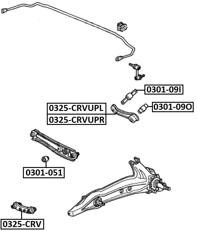 Сайлентблок AKITAKA 0301-09I (заднего верхнего поперечного рычага внутрений ушастый) HONDA