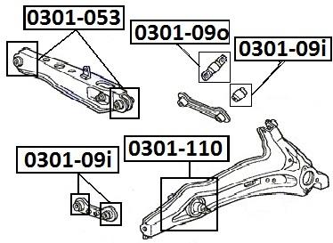 Сайлентблок AKITAKA 0301-110 (заднего продольного рычага ушастый) HONDA