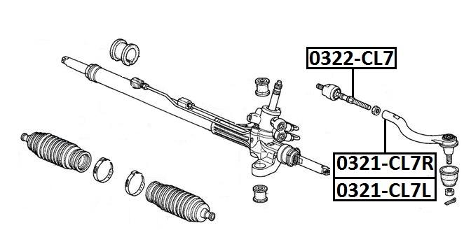Наконечник рулевой AKITAKA 0321-CL7R HONDA