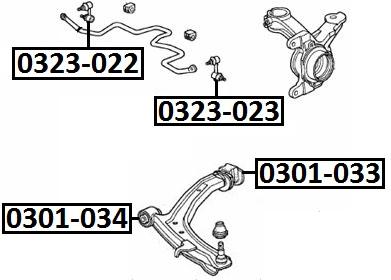 Тяга стабилизатора AKITAKA 0323-022 HONDA (передняя R)
