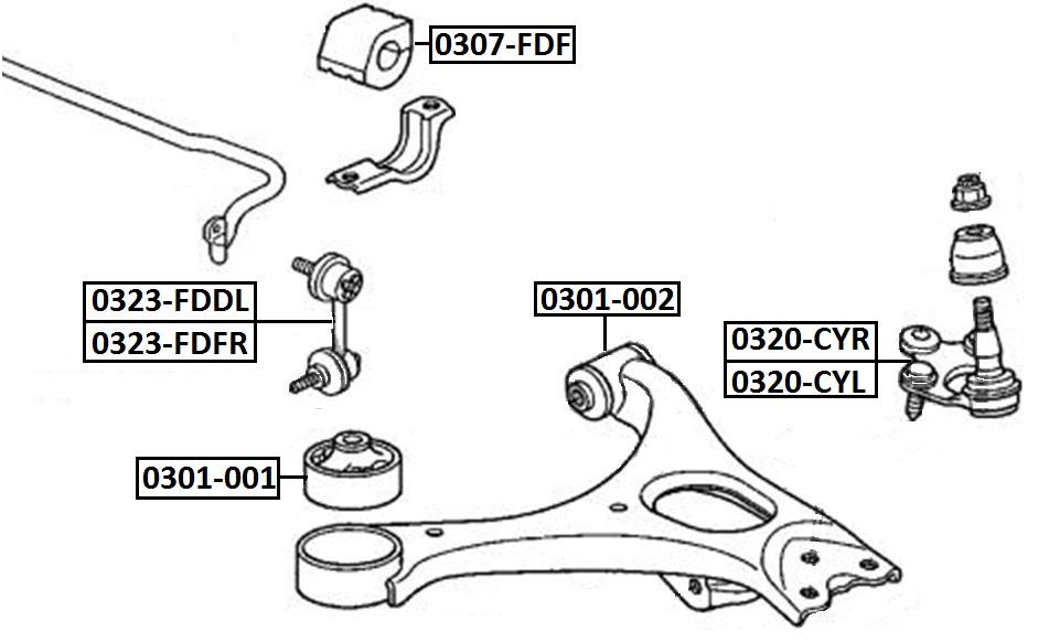 Тяга стабилизатора AKITAKA 0323-FDFR HONDA (передняя R)