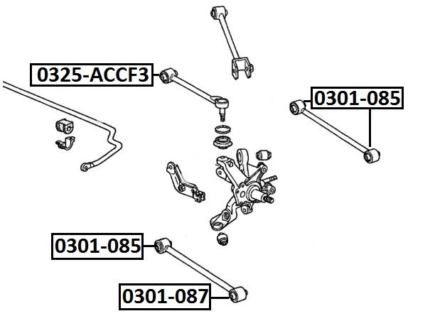 Тяга стабилизатора AKITAKA 0325-ACCF3 HONDA (задняя поперечная с шаровой)