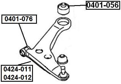 Сайлентблок AKITAKA 0401-076 (переднего рычага передний)
