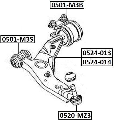 Сайлентблок AKITAKA 0501-M3B (переднего рычага задний с кронштейном)