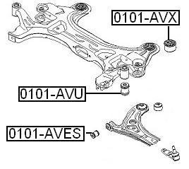 Сайлентблок AKITAKA 1101-AVX (переднего подрамника задний) CHEVROLET