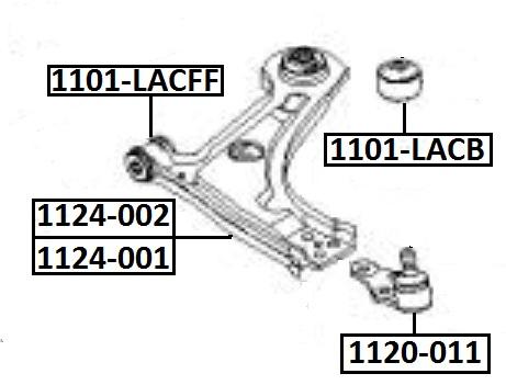 Сайлентблок AKITAKA 1101-LACB (переднего рычага задний) CHEVROLET