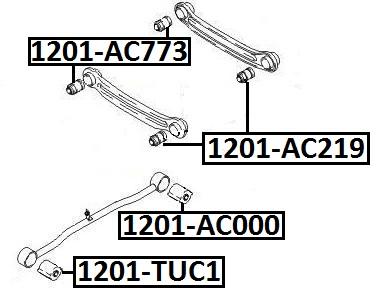 Сайлентблок AKITAKA 1201-AC000 (задней продольной тяги задний) HYUNDAI
