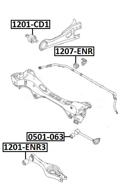Сайлентблок AKITAKA 1201-CD1 (заднего продольного рычага ушастый) HYUNDAI
