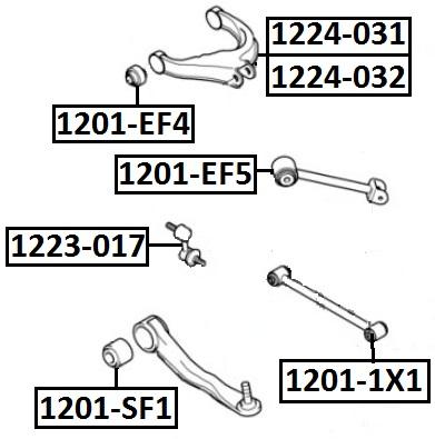 Сайлентблок AKITAKA 1201-EF4 (заднего верхнего рычага) HYUNDAI