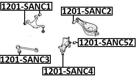 Сайлентблок AKITAKA 1201-SANC4 (задней цапфы передний) HYUNDAI