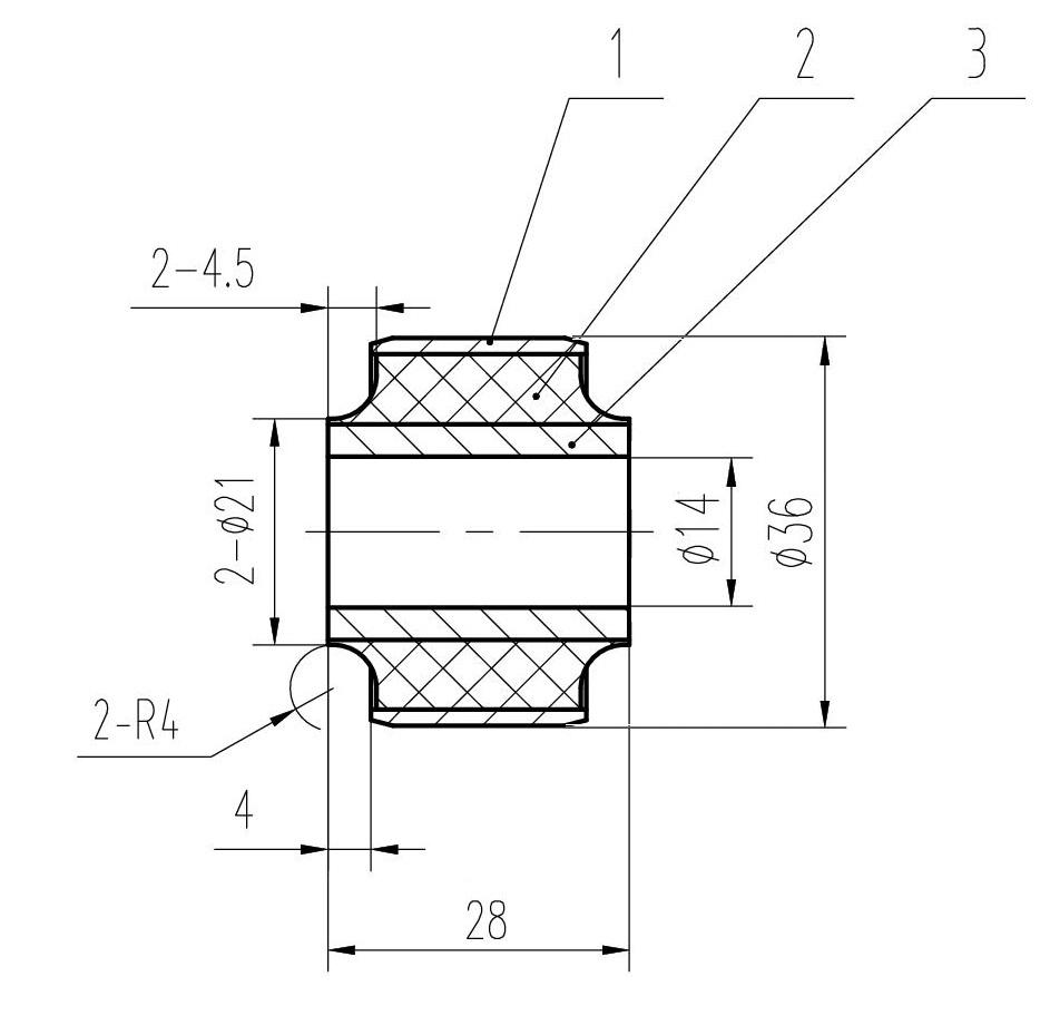 Сайлентблок AKITAKA 1401-001 (передней тяги стабилизатора) SSANG YONG