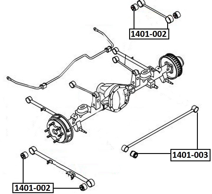 Сайлентблок AKITAKA 1401-003 (задней тяги) SSANG YONG