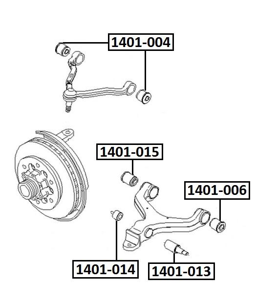 Сайлентблок AKITAKA 1401-014 (переднего нижнего рычага) SSANG YONG