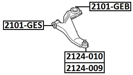Сайлентблок AKITAKA 2101-GES (передний переднего рычага) FORD