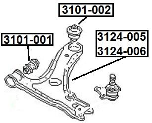 Сайлентблок AKITAKA 3101-001 (переднего рычага передний)