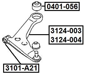 Сайлентблок AKITAKA 3101-A21 (переднего рычага передний)