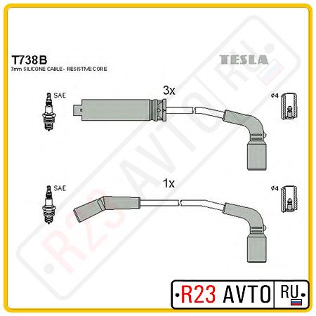 Провода высоковольтные TESLA T738B (DAEWOO/CHEVROLET Lanos)