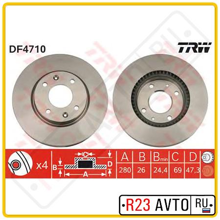 Диск тормозной передний TRW DF4710